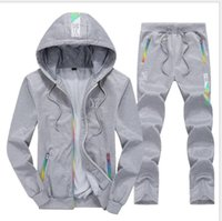 Wholesale running clothes men for sale - Group buy 2020 Men Sets Hooded Tracksuit Track Sweat Suits Three Stripes Male Sweatsuit Mens Sporting Suits Mens Clothing S XL
