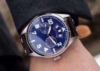 relojes mecánicos de importación al por mayor-Nueva venta caliente Reloj para hombre Movimiento mecánico automático importado 44 mm Dial Cristal de zafiro Función de calendario Correa de cuero Reloj de pulsera de moda