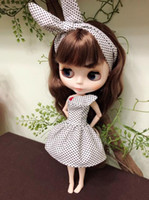 Wholesale big inflatable dolls for sale - Group buy handmade Big eye doll clothes Shirt plaid skirt Strap skirt suit small doll skirt