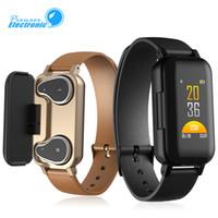 смотреть наушники bluetooth оптовых-Смарт-браслет T89 TWS Наушники Bluetooth-наушники Фитнес-трекер Монитор сердечного ритма Спортивные часы для Android и iOS с розничной коробкой
