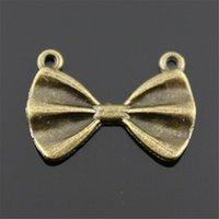 pajarita de bronce al por mayor-300 unids Charm Tie Bow Vintage Tie Bow Charms colgante para la fabricación de joyas de color bronce antiguo Tie Bow Charms 15x21mm