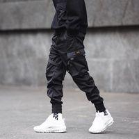 ingrosso pantaloni neri di cargo hiphop-Pantaloni da uomo multi-tasche cargo hip-hop nero pantaloni tattici mens casual slim jogging pantaloni hiphop punk