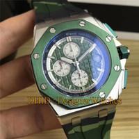 armee grüne uhren groihandel-Neue Luxus Designer Uhren Stoppuhr Camouflage Army Green Dial Gummiband Choronograph Quarz Armbanduhren Sport wasserdichte Uhr