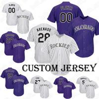 e9152148e Custom 28 Nolan Arenado Rockies baseball jersey 19 Charlie Blackmon 27  Trevor Story 9 Daniel Murphy 44 Anderson jersey
