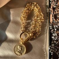 münzencharme armbänder frauen großhandel-Vintage Klassische Matte Gold Farbe Münze Charme Armbänder für Frauen 2019 Modeschmuck Luxus Gold Farbe Armbänder Weibliches Geschenk