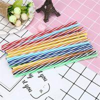 Wholesale biodegradable plastics resale online - 9inch Reusable plastic Straws Biodegradable Colored Hard Plastic Striped Straws for ounce ounce mug