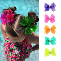 "Discount red glitter hair bow ncmama 4"" Waterproof Jelly Bows Hair Bows for Girls with Clips Glitter Knot Pool Swim Solid Hairpins Fashion Kids Headwear"