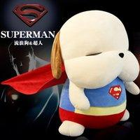 batman köpeği toptan satış-Kaptan Amerika Superman Batman Ironman Köpek Dolması Hayvan Koleksiyon Peluş Oyuncaklar Yastık Araba Dekorasyon Sevimli Bebek