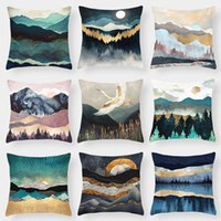 Wholesale hand painted mountain resale online - Hand Painting Landscape View Cushion Covers Mountain Sun And Moon Day Night Cushion Cover Decorative Soft Pillow Case