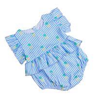ingrosso babys jumpsuits-Babys Tuta Manica Corta Gessata Acetato Fibra Blu Semplice Fly Sleeve Drape Hanno chiusura in magazzino 50