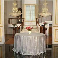 manteles de boda amarillo al por mayor-Ronda de lentejuelas de oro rosa cubierta de tela de mesa evento de boda banquete fiesta decoración de Navidad
