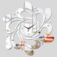 envío gratis reloj acrílico al por mayor-Relojes de reloj de pared gratis envío nuevo reloj de reloj apresurado real decoración del hogar pegatinas de pared espejo acrílico ZJ0495
