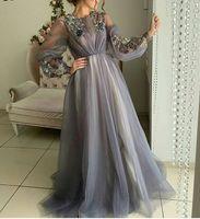 vestidos de baile grandes jóias venda por atacado-2019 Jewel Appliqued Evening Prom Dress manga comprida para as mulheres A linha Red Carpet Dresses Ocasião Especial Big Size