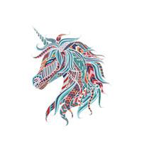 музыкальная нота виниловый рисунок оптовых-Creative Unicorn Wall Decal PVC Removable Colorful Horse Wall Sticker for Bedroom Kids Room Decoration Unicorn Decor