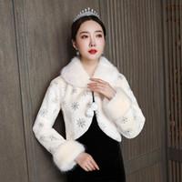 Wholesale champagne fur bolero for sale - Group buy 2020 New Champagne warm hair shawl bride wedding hair shawl wedding dress cheongsam with sleeve jacket