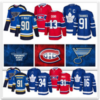 jerseys canadenses venda por atacado-Toronto Maple Leafs 91Tavares 34Matthews Montreal Canadiens 13Max Domi 31Price St. Louis Blues Jerseys 91Tarasenko 90O'Reilly Hockey Jerseys