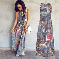 maxi çok renkli elbiseler toptan satış-Gogoboi Renkli Çiçek Baskı Düğme Bölünmüş Ön Flare Plaj Kıyafeti Boho Maxi Elbise Kadınlar Kısa Kollu halter Uzun Elbise