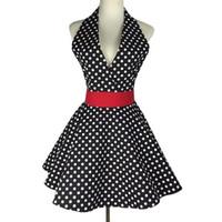 vestidos de pinafore venda por atacado-Sexy retro avental para a cozinha cozinhar pinafore menina vestido sem mangas babete limpeza 100% algodão pano aventais para mulher presente