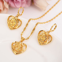 18 k Fine Solid Gold GF Outline border heart flower Europe women Jewelry Sets bridals Wedding jewelry Gift Dubai pendnat earring