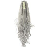 saç uzantıları dalgalı at kuyruğu klip toptan satış-24 inç Uzun Gri Sarışın Dalgalı Postiş Uzantıları Klip Midilli Kuyruk Yüksek Sıcaklık Fiber Sentetik Saç Pençe Ponytails