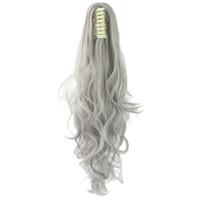 clip pferdeschwänze blond großhandel-24 zoll Lange Grau Blonde Wellenförmige Clip auf Haarteil Extensions Pony Tail Hochtemperaturfaser Synthetische Haar Klaue Pferdeschwanz