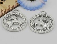 ingrosso braccialetti in argento tibetano uomo-Ciondoli a forma di testa di cavallo Pendenti in argento tibetano 28x25mm Adatto a risultati di gioielli europei Bracciale Collana Orecchini Uomo Donna 100 pezzi