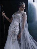 corpiño vestido de novia sin tirantes sirena al por mayor-Enmascarado de lujo más nuevo de la sirena sin tirantes de vestidos de boda desmontable del Cabo atractivo ilusión blusa vestido de novia vestidos de boda del envío libre