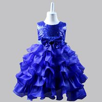 kanama gelinlik yâkaları toptan satış-XABH 2019 Kızlar Elbiseler Kolsuz Bling yay bağlı Parti Elbise Düğün Vestidos Para Ninas Mezuniyet Kostümleri Çocuk Balo