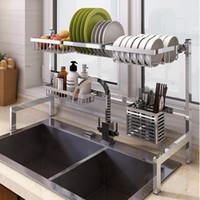 bureau en acier inoxydable achat en gros de-63 / 83cm évier drain rack plat rack 304 en acier inoxydable pliant cuisine rack de stockage de bureau fournitures peuvent être personnalisés
