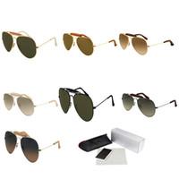солнцезащитные очки лягушки оптовых-Металлический пилот солнцезащитные очки Мужчины Женщины овальная рама лягушка зеркало рецепт спортивные очки ретро дизайнер солнцезащитные очки высокого класса очки 3422