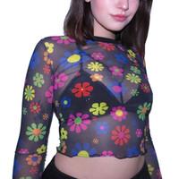 camisas de cuello tortuga al por mayor-Manga larga camisa corta mujer camiseta con cuello de tortuga floral camiseta impresa sexy recién llegado 2019 vintage ladies camiseta sexy streetwear