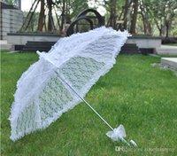 уникальные праздничные украшения оптовых-Белое кружево органзы зонтик невесты невесты великолепный зонтик автоматический зонтик свадьба элегантность уникальное украшение DT12