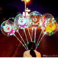ingrosso decorazione della scatola chiara del fiore-New LED Lights Balloons Night Lighting Bobo Ball Multicolor Decoration Balloon Palloncini decorativi luminosi accendino matrimonio con bastone