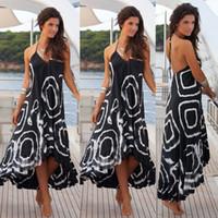 a147b6354cb5 Women Ladies Fashion Elegant Summer Dress Sleeveless V-Neck Pattern Print  Ruffles A-Line High Waist Mid-Calf Length Dress