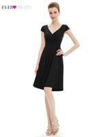vestidos de dama de honra muito pretos venda por atacado-Vestidos de Dama de Honra preto Sempre Bonita A Linha V-Neck Cap Manga Longa Formal Vestido Para Festa de Casamento Para A Mulher Vestido