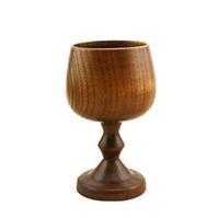 Wholesale wood glasses china resale online - Wooden Goblet Handmade Wood Wine Goblets Drinking Cup Portable Beer Tea Coffee Mug Jujube Tea Cup OOA7102
