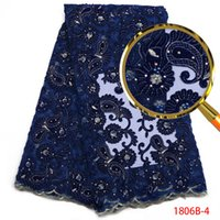 ingrosso tessuto in pizzo diamante-Tessuto di pizzo blu africano Tessuto di velluto di alta qualità Tessuto di pizzo maglia ricamata con diamante abito nigeriano perla QF1806B