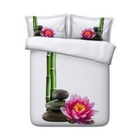 beyaz çiçek nevresim takımı toptan satış-Pembe Yorgan Kapak Beyaz yatak 2 Yastık Şems Yeşil Oriental Yatak Örtüsü ile Çiçek Bambu Ormanı Nevresim Seti Bitki 3 PC örtüleri set