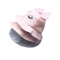 bebek yaz kovası şapkaları toptan satış-Yaz Rahat Sevimli Yenidoğan Bebek Kız Çocuk Prenses Katı Bebek Çiçek Güneş Kap Pamuk Kova Şapka 2019 Yeni