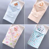 baby schlafsack quilt großhandel-80 * 80cm babydecke neugeborenen niedlichen baumwolle cartoon gedruckt swaddle wickeldecke kinder schlafsäcke quilt swaddling atmungsaktives towel