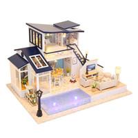 niños de la casa de madera al por mayor-Creative Blue Home DIY Puzzle Montar Casa de Muñecas Casa de Madera en Miniatura Juguetes para Niños Regalos de Cumpleaños
