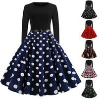 resmi elbiseler polka noktaları toptan satış-Kadın Polka Dot / Baskılı / FloralDress Uzun Kol Patchwork İnce Bir Çizgi Resmi Parti Elbisesi
