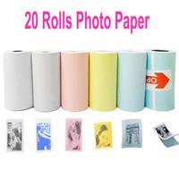 weißes druckerpapier großhandel-20 Rollen Farbe Weiß Thermopapier Etikettenpapier Aufkleber Für PeriPage PAPERANG Fotodrucker Mini Pictures Printer