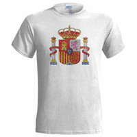 Wholesale spain mens shorts for sale - Group buy SPAIN COAT OF ARMS DISTRESSED LOOK MENS T SHIRT SPANISH FLAG PLUS ULTRA NATION Summer New Fashion Brand Tshirt Solid Color