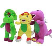 muñecas de cine al por mayor-18CM de Barney y sus amigos Amarillo Verde dinosaurio púrpura película de la historieta de la felpa suave animales de peluche de la muñeca juega el regalo C