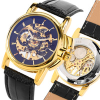 новая рука группа моды оптовых-Fashion  Hand Wind Mechanical Watch Men Genuine Leather Band Skeleton Mens Watches 2019 New  Timepieces Male Gifts