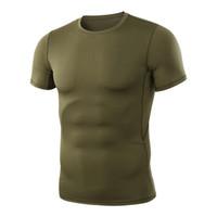 camiseta de manga curta do exército venda por atacado-MEGE 2019 Camisa Dos Homens T de Fitness Compressão Magro Camisa Tático Do Exército Ginásio de Manga Curta Casual T-Shirt Fit Hip-Hop Top Tees