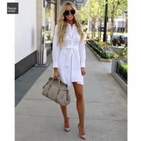 damas de viscosa vestidos casuales de verano al por mayor-Blanco de verano vestido de las mujeres vestidos de Solid camisa de manga larga con botones de vestido de viscosa Hembra ocasional de la correa señoras de la oficina de algodón suave
