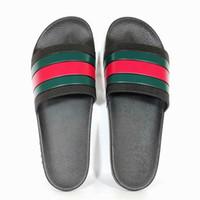 Wholesale sliding button resale online - 2019 Rubber Slide Sandal Slippers Stripe Fashion brand Designer slipper Men Classic Ladies Summer Flip Flops