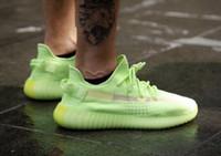ingrosso scarpe da ginnastica kanye west bagliore scuro-2019 Kanye West Nuove scarpe Glow in the dark Neon Verde Scarpe da corsa Bianco Statico 3M Nessuno Riflettente Uomo Donna Sneakers